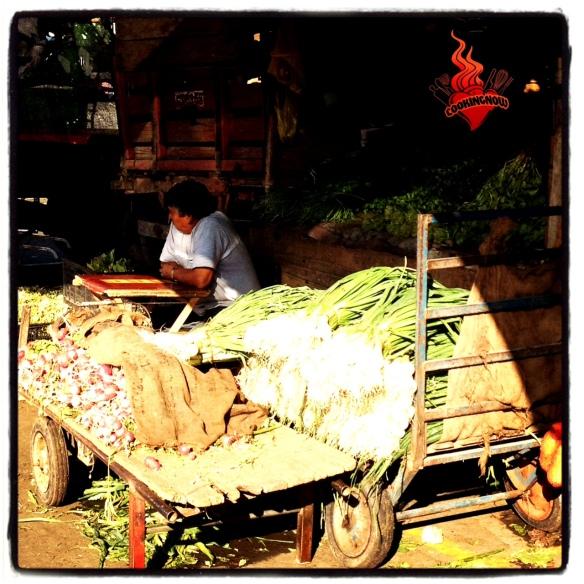 Cebolla larga y rábanos en el mercado de Lo Valledor